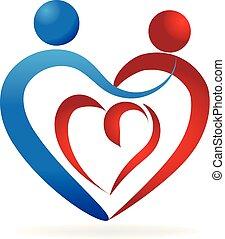 Love heart relationship people logo