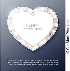 Love Heart retro light banner.