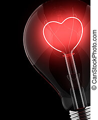 love - Heart shape in a light bulb on a black background
