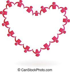 Love heart shape teamwork logo