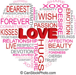 Love Heart Shape Word Cloud Illustration