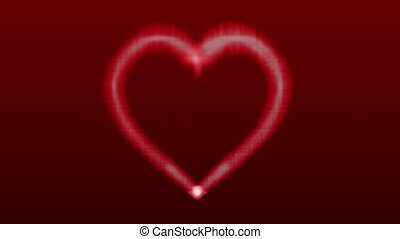 Love heart shaped animation on red background for valentines day, 4K video