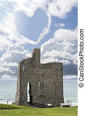love heart shaped cloud above castle - love heart shaped...