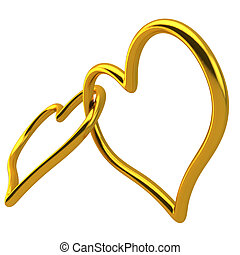 Love Heart Shaped Wedding Ring Linked Together