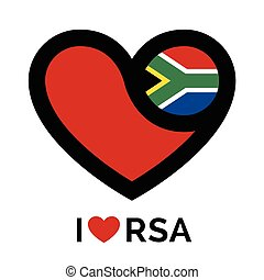 Love heart South Africa flag icon