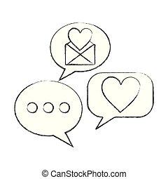 love heart speech bubble envelope message
