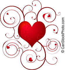 Floral love heart design that would be ideal on a gift card or wedding invite