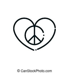 love heart symbol peace and human rights line