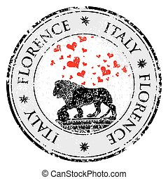 Love heart travel destination grunge rubber stamp with symbol of Florence, statue of a lion, Italy, vector illustration