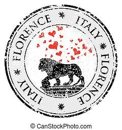 Love heart travel destination grunge rubber stamp with...