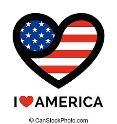 Love heart USA America flag icon
