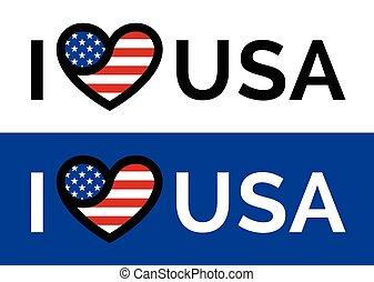 Love heart USA American flag banner