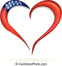 Love heart USA flag logo