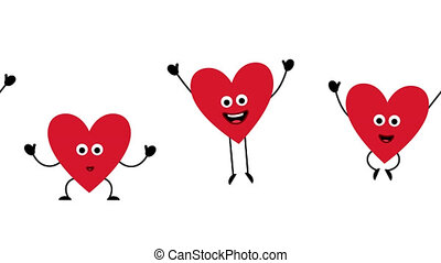 Love Heart valentine day characters dancing happy