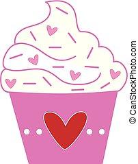 Love Heart Valentines Cupcake