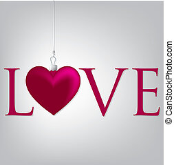 """Love"" heart Valentine's Day card in vector format."