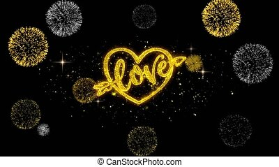 love heart Valentines day Golden Text Blinking Particles with Golden Fireworks Display
