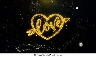 love heart Valentines day Written Gold Particles Exploding Fireworks Display