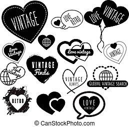 love heart vintage and retro logo marks and logos