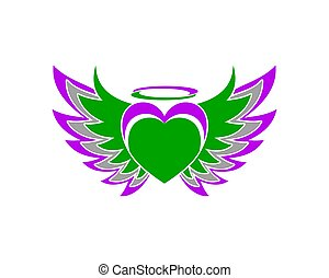 love heart wing freedom vector logo