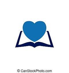 love heart with book logo icon vector