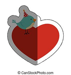 love heart with cute bird