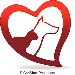 Love heart with dog and cat logo