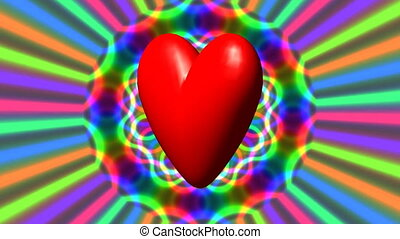 Love heart with rainbow waves video - Love heart with...
