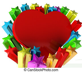 Love heart with stars celebration