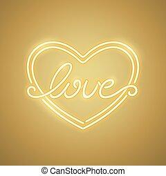 Love Heart Yellow Neon Banner