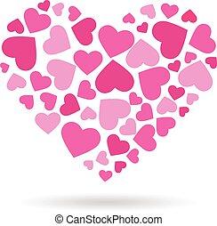 Love hearts doing a big heart.  Vector logo design