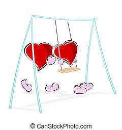 love hearts enjoying swing ride