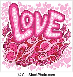 Love hearts hand lettering and doodles elements