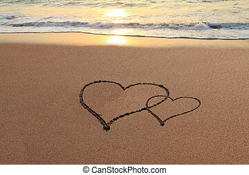 Love Hearts on the beach - Hearts in the sand on the beach...