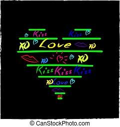 Love Hearts Sketchy Doodles Design Elements on Lined Sketchboo
