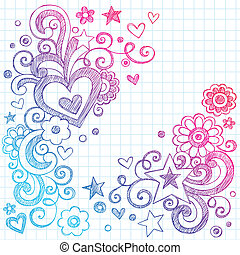 Love Hearts Sketchy Doodles Vector - Valentines Day Love...