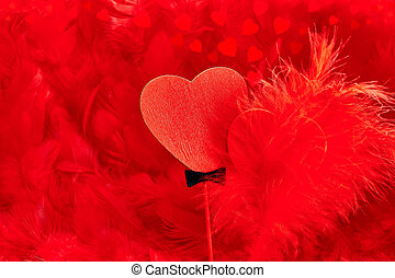 Love hearts, Valentines Day. Couple on red feathers