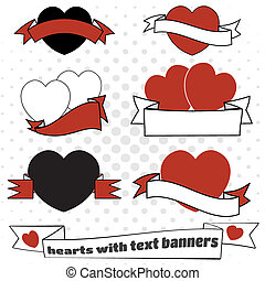 Love hearts with text banners