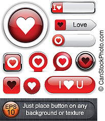 Love high-detailed modern buttons. - Heart web red buttons...