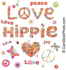 Love hippie. Flowers print