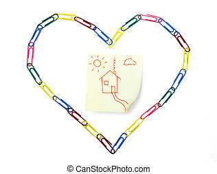 Love Home - Symbolic sticky note with home inside the heart ...