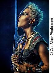 love horror - Portrait of a beautiful female warrior in...