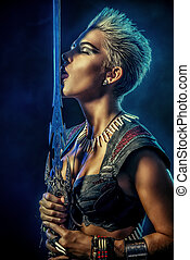 love horror - Portrait of a beautiful female warrior in...