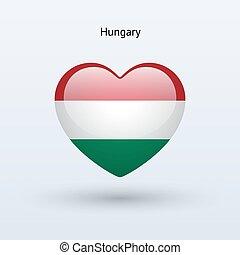 Love Hungary symbol. Heart flag icon.