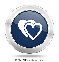 love icon, dark blue round metallic internet button, web and mobile app illustration