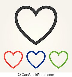 Love icon. Heart sign symbol. Round colourful hearts. Vector illustration