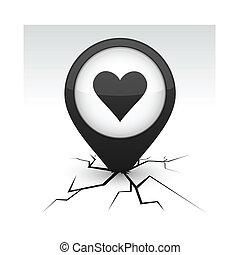 Love icon in crack.