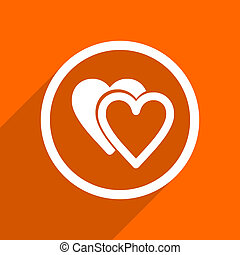 love icon. Orange flat button. Web and mobile app design illustration