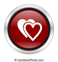 love icon, red round button isolated on white background, web design illustration
