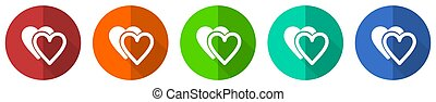 Love icon set, red, blue, green and orange flat design web buttons isolated on white background, vector illustration